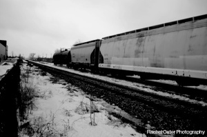black and white photograph of train on tracks