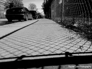 black and white photography shadows from fence in Toronto