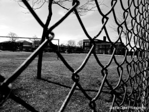 Black and white photography view through a fence in Toronto