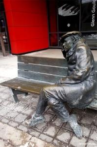Toronto CBC Building Glenn Gould sitting on a bench