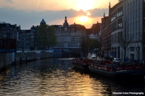 Sunset over a canal in Amsterdam Rachel Cater Photography