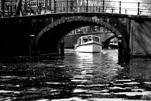 Boat in the canal Amsterdam Rachel Cater Photography