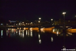 Lights reflected in canal in Stockholm Rachel Cater Photography