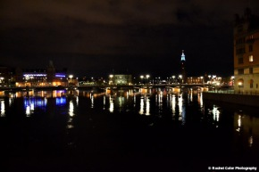 Lights reflected in canal near Old Town Stockholm Rachel Cater Photography