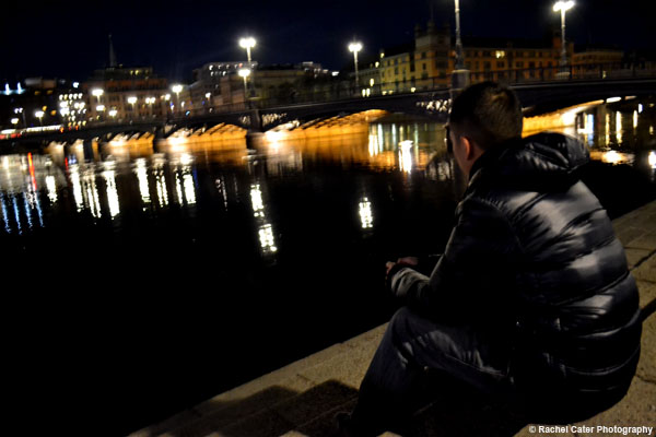 Man watching Stockholm Canal Rachel Cater Photography