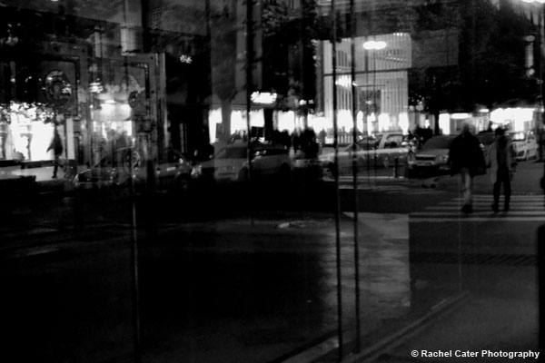 Reflections in a window BW Prague Rachel Cater Photography