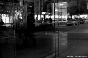 Reflections in a window ghost couple BW Prague Rachel Cater Photography