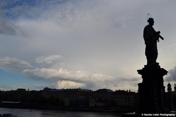 silhouette on charles bridge Prague Rachel Cater Photography